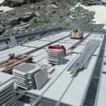 Montage Unterkonstruktion , Beschwerung mit Granitplatten